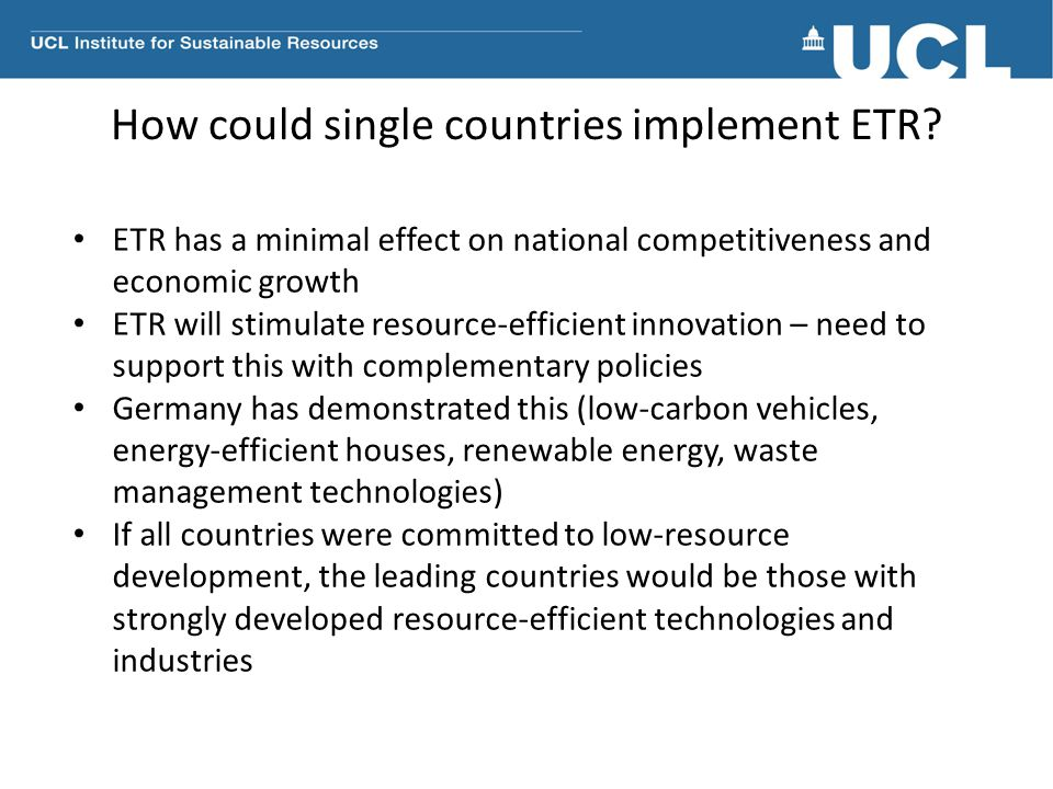 How could single countries implement ETR.