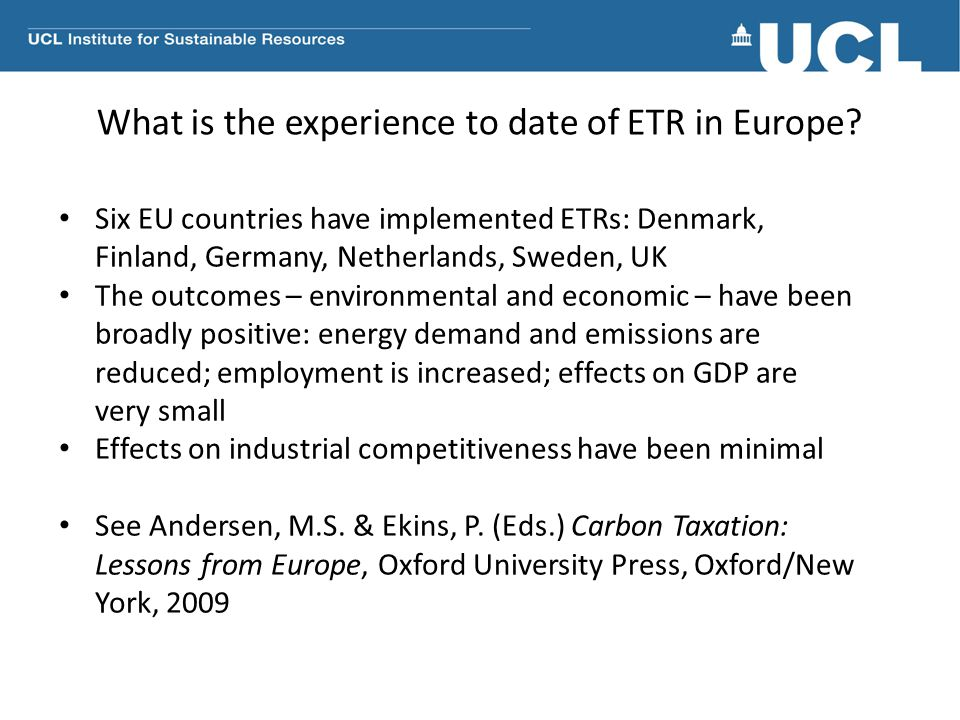 What is the experience to date of ETR in Europe.