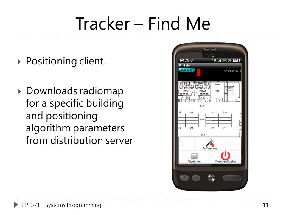 Tracker – Find Me  Positioning client.  Downloads radiomap for a specific building and positioning algorithm parameters from distribution server 11E