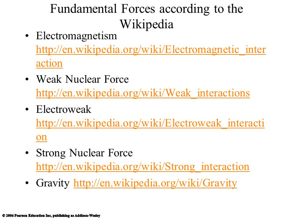 Fundamental Forces according to the Wikipedia Electromagnetism http://en.wikipedia.org/wiki/Electromagnetic_inter action http://en.wikipedia.org/wiki/