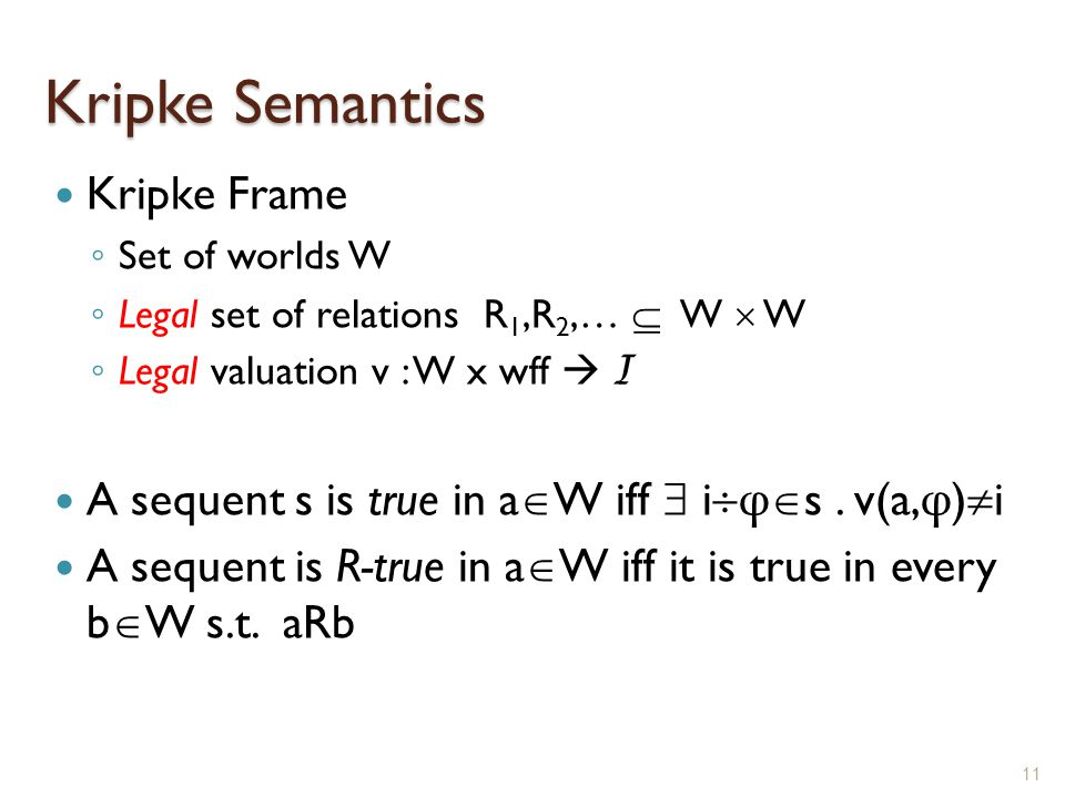 Kripke Semantics Kripke Frame ◦ Set of worlds W ◦ Legal set of relations R 1,R 2,…  W  W ◦ Legal valuation v : W x wff  I A sequent s is true in a