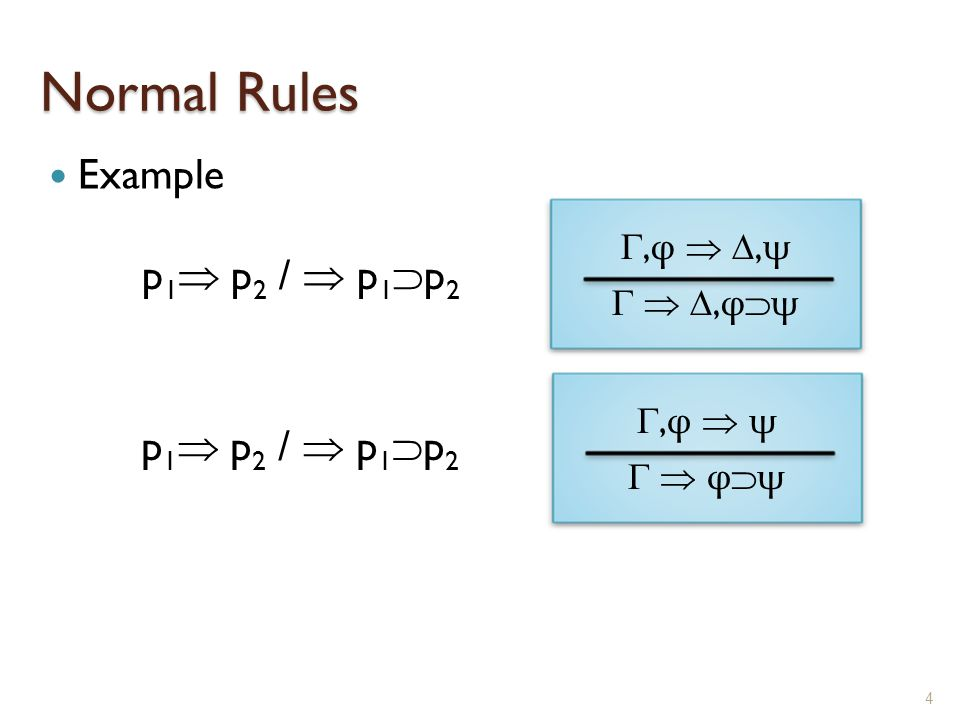 Normal Rules Example 4 ,φ  ,ψ  ,φψ,φ  ,ψ  ,φψ p 1  p 2 /  p 1  p 2 ,φ  ψ  φψ,φ  ψ  φψ
