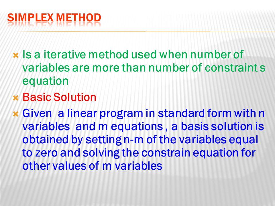  Steps Leading to the Simplex Method FormulateProblem as LP FormulateProblem Put In StandardForm StandardForm TableauForm TableauFormExecuteSimplexMethodExecuteSimplexMethod