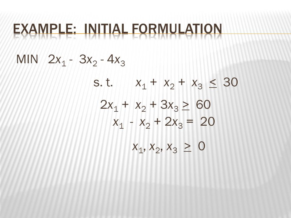  Lets put x1=0 x2= 0 so now the basic variables are s1,s2,s3  S1=150  S2=20  S3=300  X1=0  X2=0  It is feasible basic solution as all variables satisfy the non-negativity condition