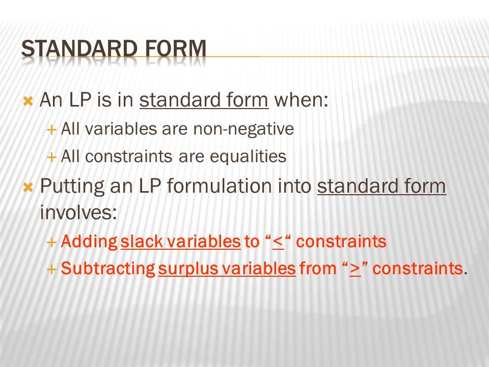  Problem in Standard Form MIN 2x 1 - 3x 2 - 4x 3 s.