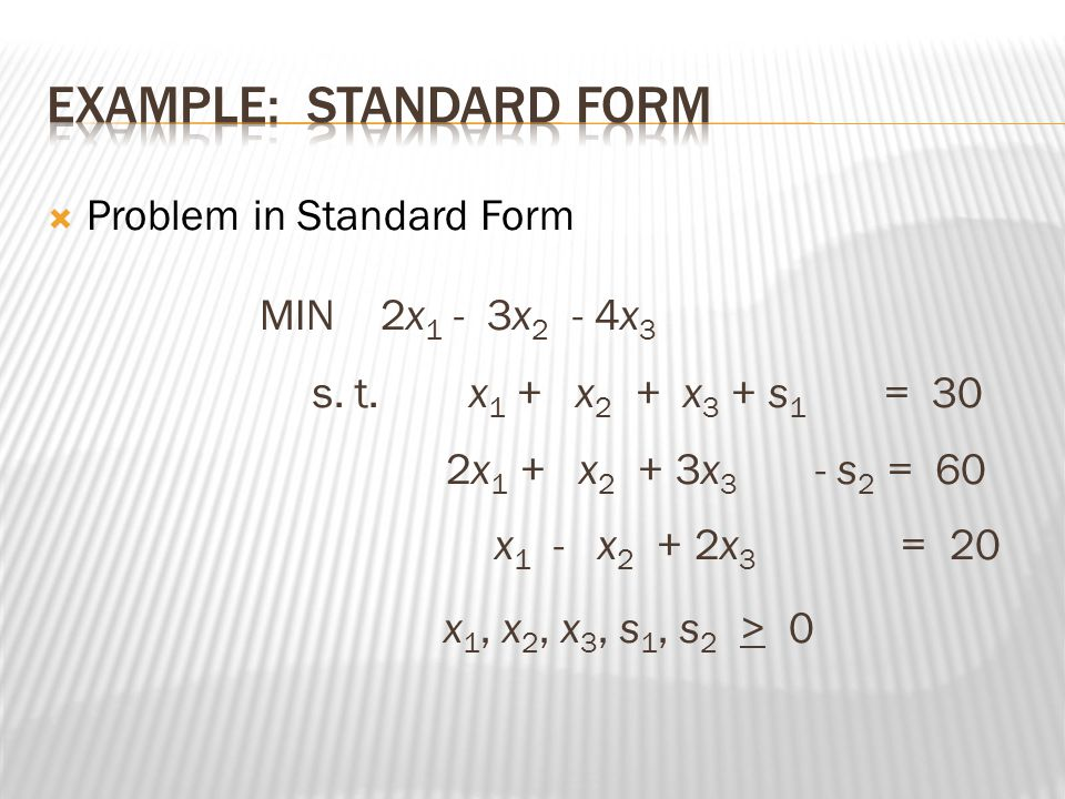  X 1 x 2 s 1 s 2 s 3  50 40 0 0 0  3 5 1 0 0 150  0 1 0 1 0 20  8 5 0 0 1 300 Objective function coefficient B column A matrix; m rows and n columns of coefficient of variable in constraint equation Each column of the basis variable is a unit vector, a row is associated with basis variable.