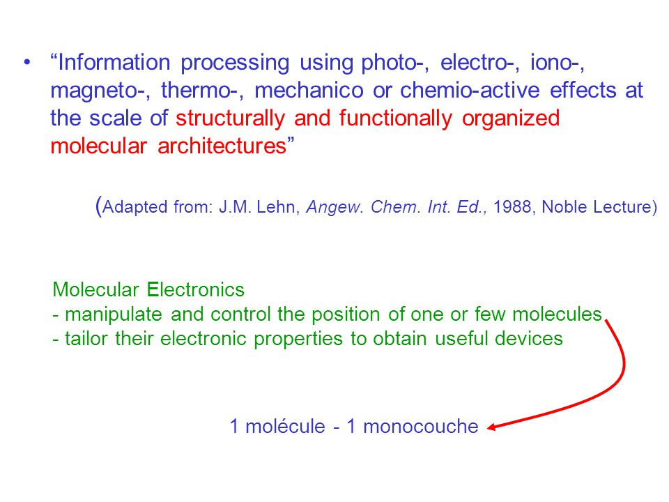 What can we do with molecules ? Which types of electronic devices?
