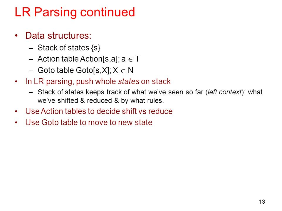 13 LR Parsing continued Data structures: –Stack of states {s} –Action table Action[s,a]; a  T –Goto table Goto[s,X]; X  N In LR parsing, push whole