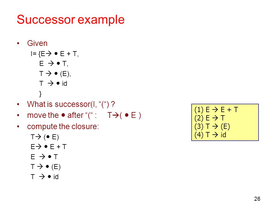"26 Successor example Given I= {E  ● E + T, E  ● T, T  ● (E), T  ● id } What is successor(I, ""("") ? move the ● after ""("" : T  ( ● E ) compute the"