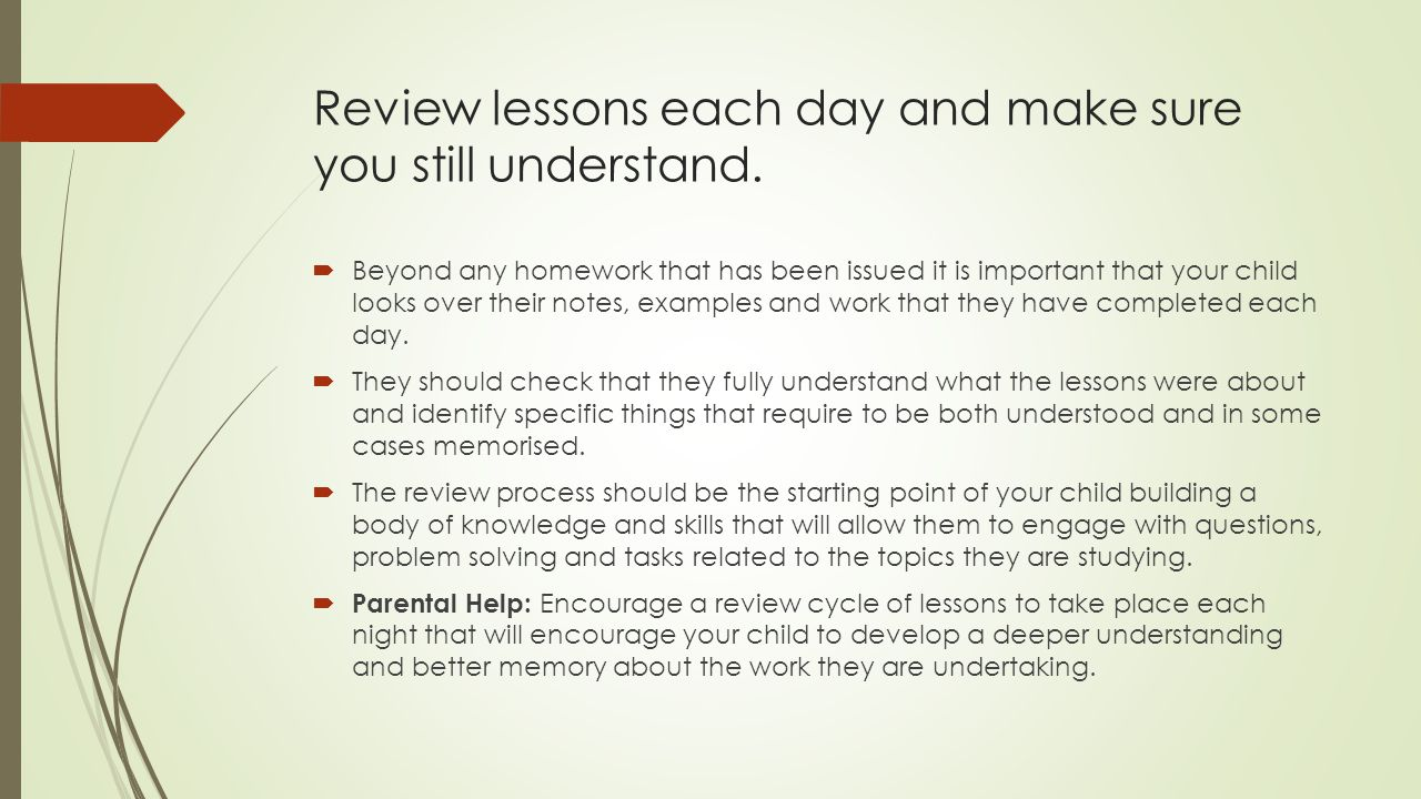 Review lessons each day and make sure you still understand.  Beyond any homework that has been issued it is important that your child looks over thei