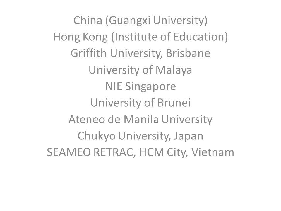 China (Guangxi University) Hong Kong (Institute of Education) Griffith University, Brisbane University of Malaya NIE Singapore University of Brunei Ateneo de Manila University Chukyo University, Japan SEAMEO RETRAC, HCM City, Vietnam