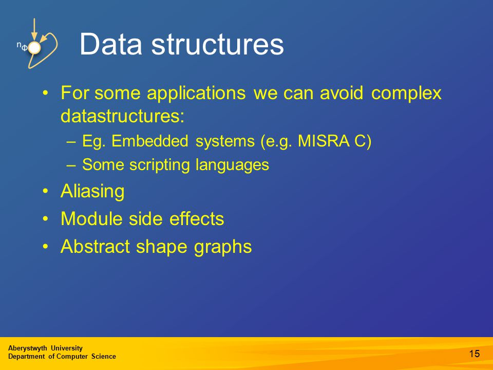 Aberystwyth University Department of Computer Science Data structures For some applications we can avoid complex datastructures: –Eg.