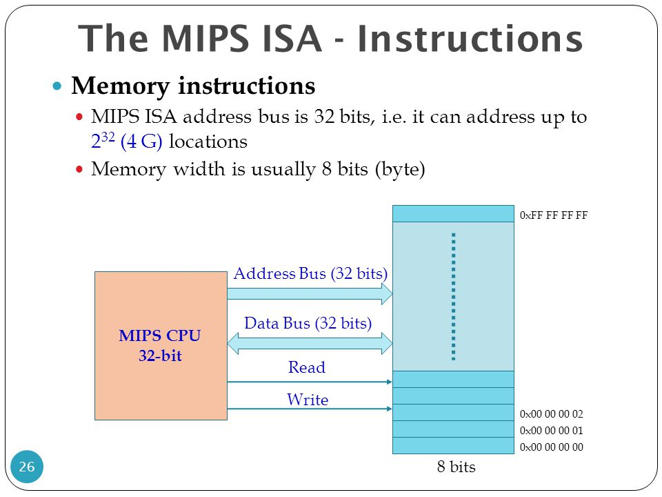 Memory instructions MIPS ISA address bus is 32 bits, i.e. it can address up to 2 32 (4 G) locations Memory width is usually 8 bits (byte) The MIPS ISA