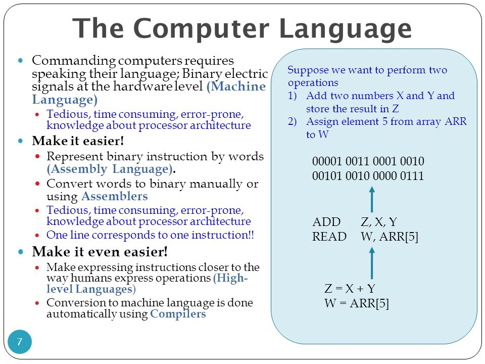 The Computer Language Commanding computers requires speaking their language; Binary electric signals at the hardware level (Machine Language) Tedious,