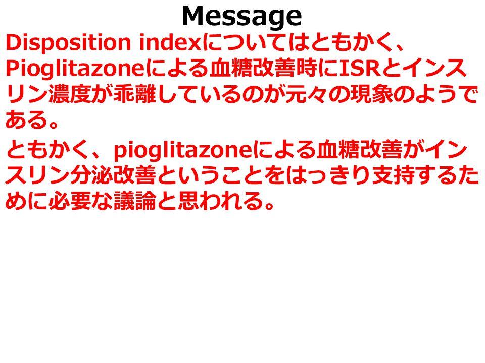 Message Disposition index についてはともかく、 Pioglitazone による血糖改善時に ISR とインス リン濃度が乖離しているのが元々の現象のようで ある。 ともかく、 pioglitazone による血糖改善がイン スリン分泌改善ということをはっきり支持するた めに必要な議論と思われる。
