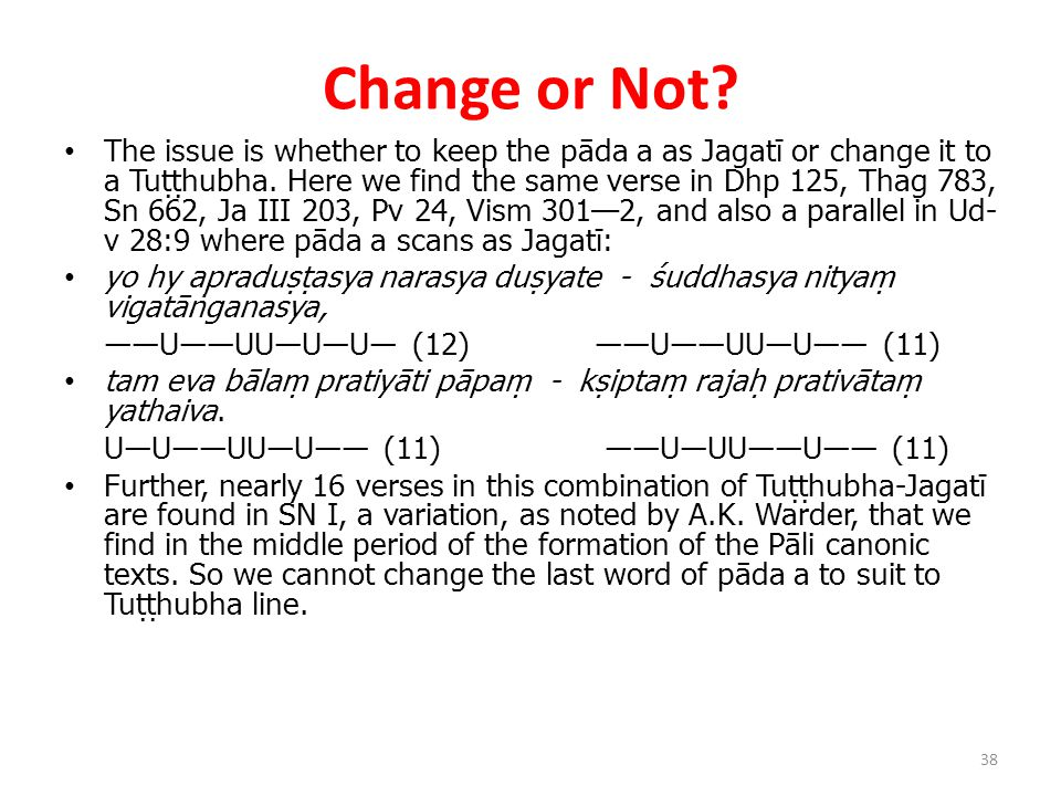 Change or Not. The issue is whether to keep the pāda a as Jagatī or change it to a Tuṭṭhubha.