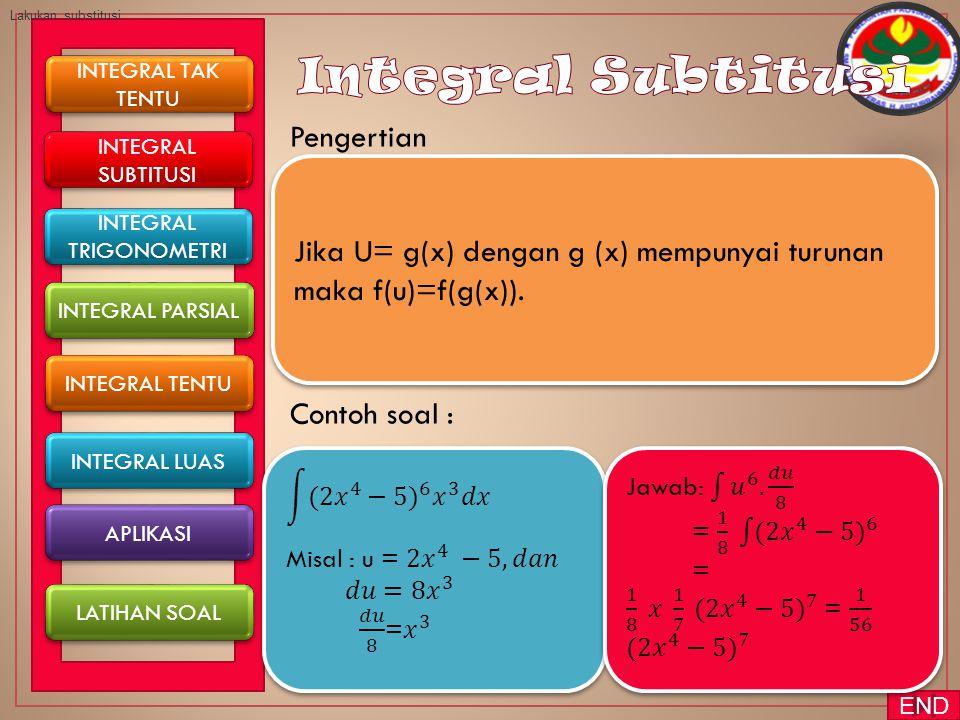 Pengertian Contoh soal : INTEGRAL TAK TENTU INTEGRAL TAK TENTU INTEGRAL TENTU INTEGRAL PARSIAL INTEGRAL SUBTITUSI INTEGRAL SUBTITUSI INTEGRAL LUAS Jika U= g(x) dengan g (x) mempunyai turunan maka f(u)=f(g(x)).