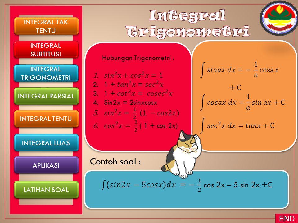 INTEGRAL TAK TENTU INTEGRAL TAK TENTU INTEGRAL TENTU INTEGRAL PARSIAL INTEGRAL SUBTITUSI INTEGRAL SUBTITUSI INTEGRAL LUAS APLIKASI LATIHAN SOAL INTEGRAL TRIGONOMETRI INTEGRAL TRIGONOMETRI END
