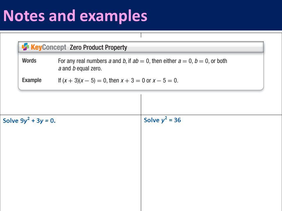 Solve 9y 2 + 3y = 0. Solve y 2 = 36