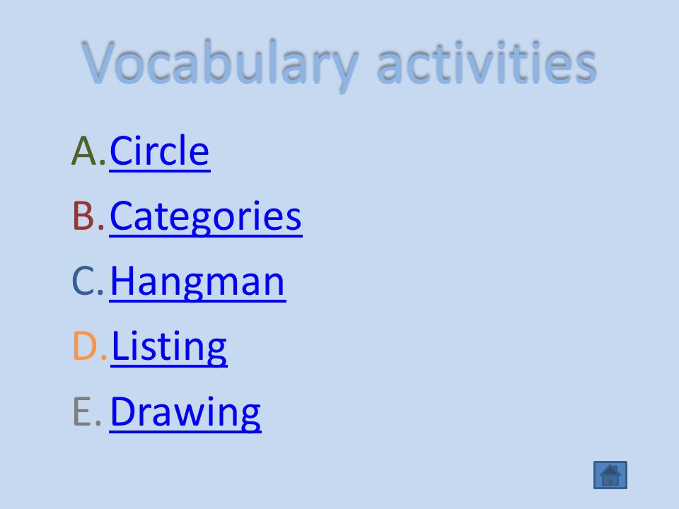 Vocabulary activities A.CircleCircle B.CategoriesCategories C.HangmanHangman D.ListingListing E.DrawingDrawing