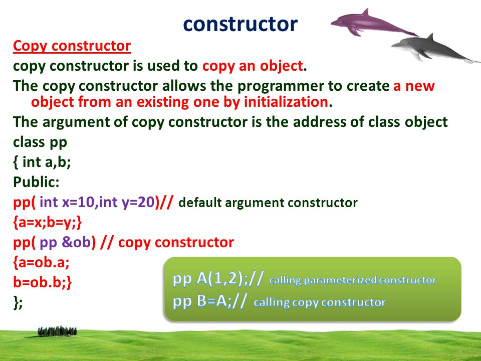 14 constructor Copy constructor copy constructor is used to copy an object.