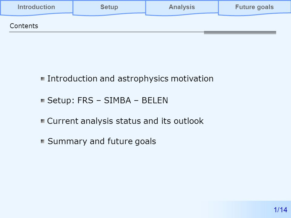Introduction and astrophysics motivation Setup: FRS – SIMBA – BELEN Current analysis status and its outlook Contents 1/14 AnalysisFuture goalsIntroductionSetup Summary and future goals