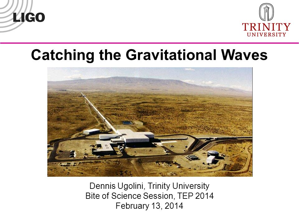 Dennis Ugolini, Trinity University Bite of Science Session, TEP 2014 February 13, 2014 Catching the Gravitational Waves
