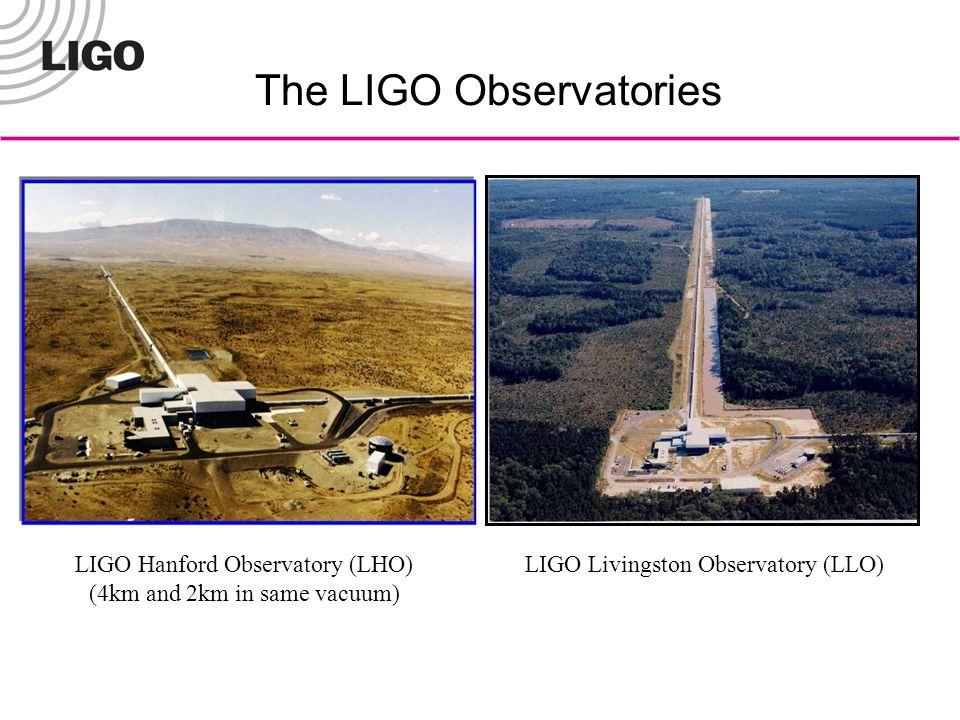 The LIGO Observatories LIGO Hanford Observatory (LHO) (4km and 2km in same vacuum) LIGO Livingston Observatory (LLO)