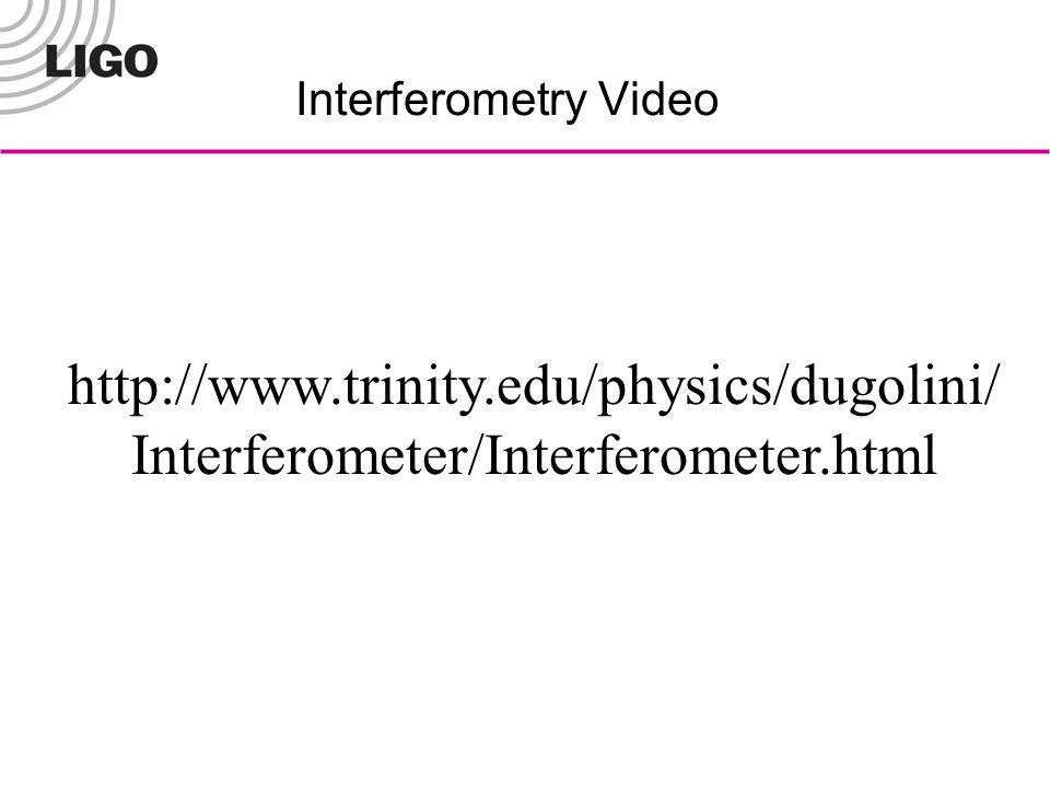 Interferometry Video http://www.trinity.edu/physics/dugolini/ Interferometer/Interferometer.html