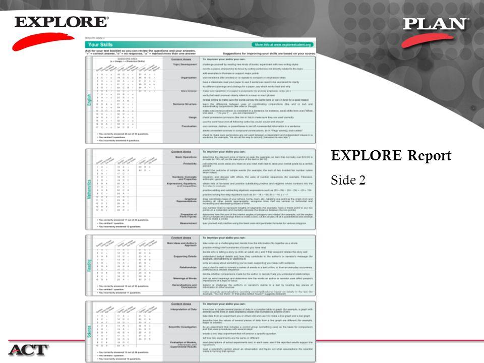 EXPLORE Report Side 2