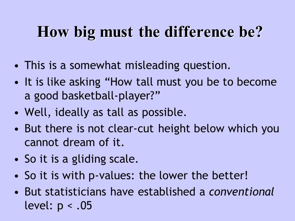 "How big must the difference be? This is a somewhat misleading question. It is like asking ""How tall must you be to become a good basketball-player?"" W"