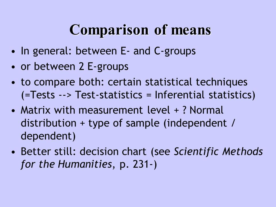 Comparison of means In general: between E- and C-groups or between 2 E-groups to compare both: certain statistical techniques (=Tests --> Test-statistics = Inferential statistics) Matrix with measurement level + .