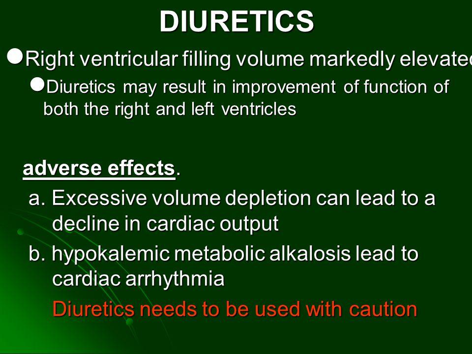 DIURETICS Right ventricular filling volume markedly elevated Right ventricular filling volume markedly elevated Diuretics may result in improvement of