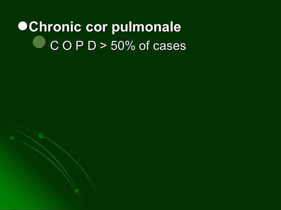 Chronic cor pulmonale Chronic cor pulmonale C O P D > 50% of cases C O P D > 50% of cases