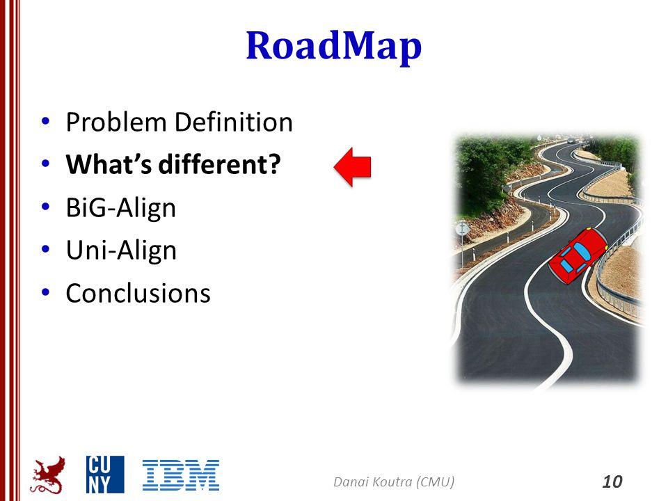 RoadMap Problem Definition What's different? BiG-Align Uni-Align Conclusions 10 Danai Koutra (CMU)