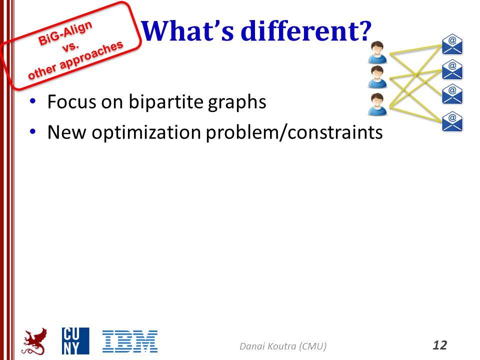 What's different? Focus on bipartite graphs New optimization problem/constraints BiG-Align vs. other approaches BiG-Align vs. other approaches 12 Dana
