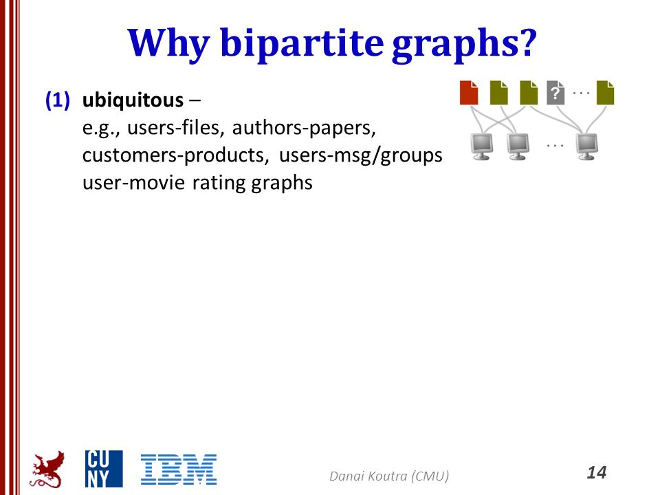 Why bipartite graphs? (1)ubiquitous – e.g., users-files, authors-papers, customers-products, users-msg/groups user-movie rating graphs 14 Danai Koutra
