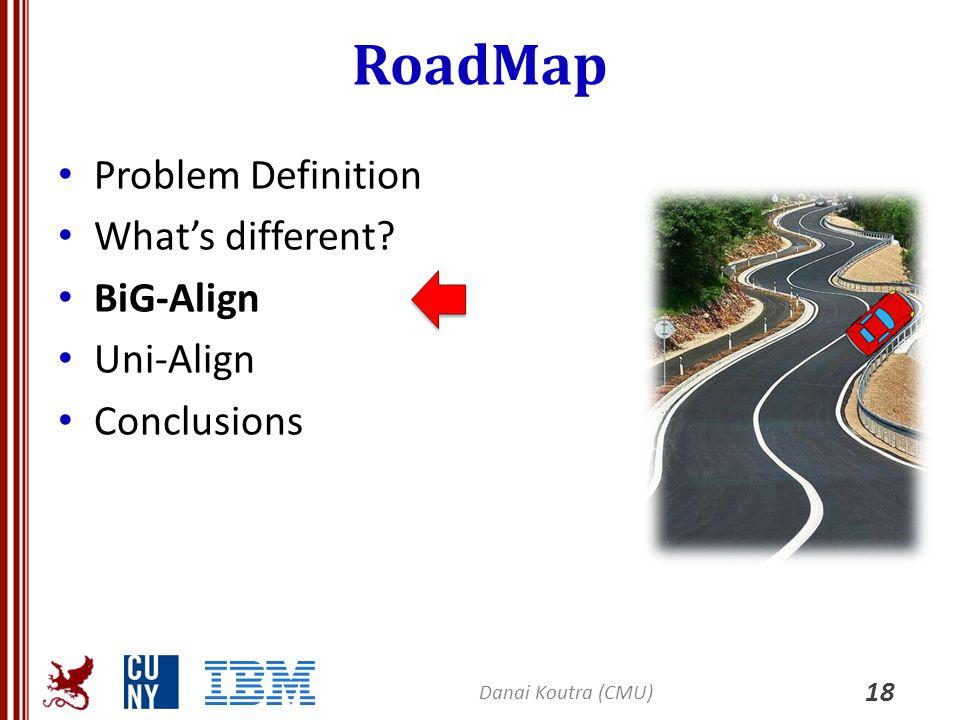 RoadMap Problem Definition What's different? BiG-Align Uni-Align Conclusions 18 Danai Koutra (CMU)
