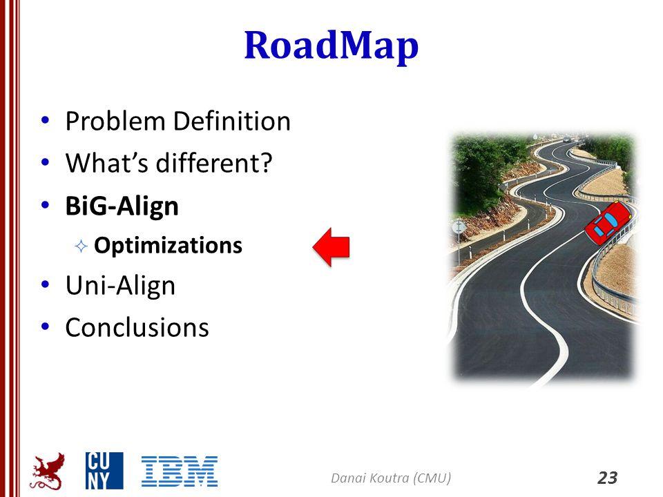 RoadMap Problem Definition What's different? BiG-Align  Optimizations Uni-Align Conclusions 23 Danai Koutra (CMU)
