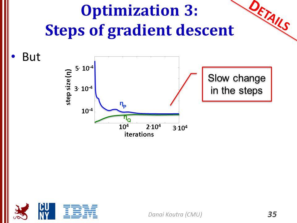 Optimization 3: Steps of gradient descent 35 D ETAILS But Danai Koutra (CMU) 3. 10 4 10 4 2. 10 4 10 -4 3. 10 -4 5. 10 -4 step size (η) iterations Slo