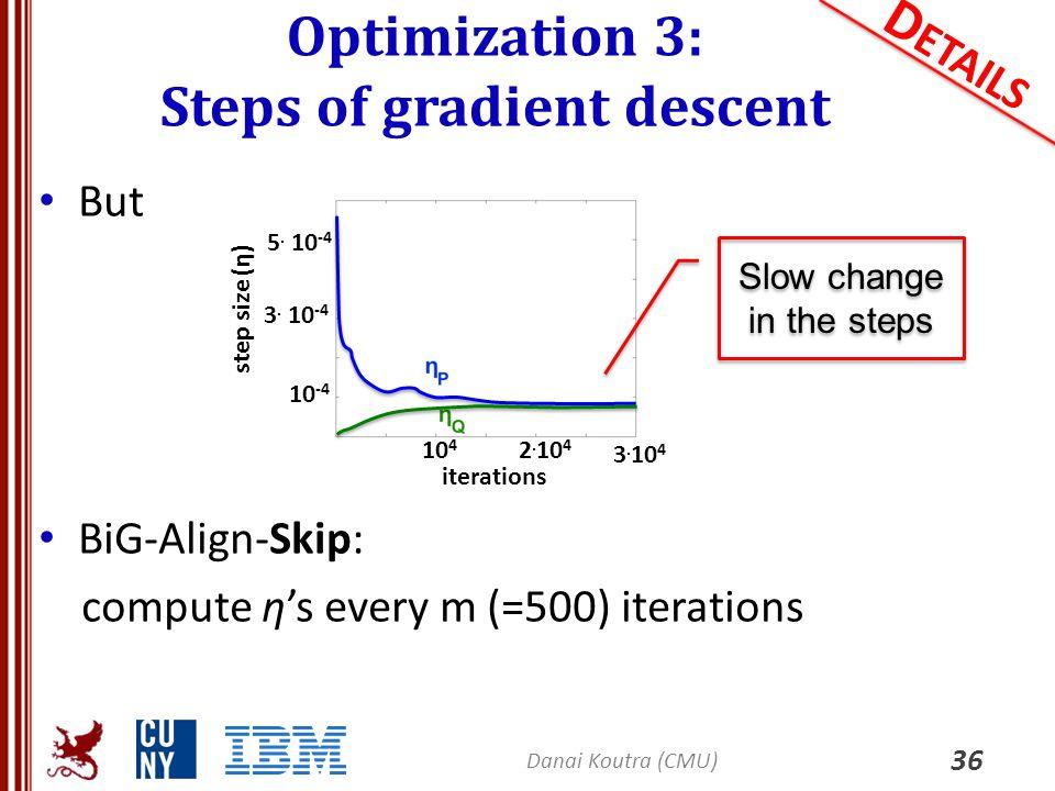 Optimization 3: Steps of gradient descent 36 D ETAILS But BiG-Align-Skip: compute η's every m (=500) iterations Danai Koutra (CMU) 3. 10 4 10 4 2. 10