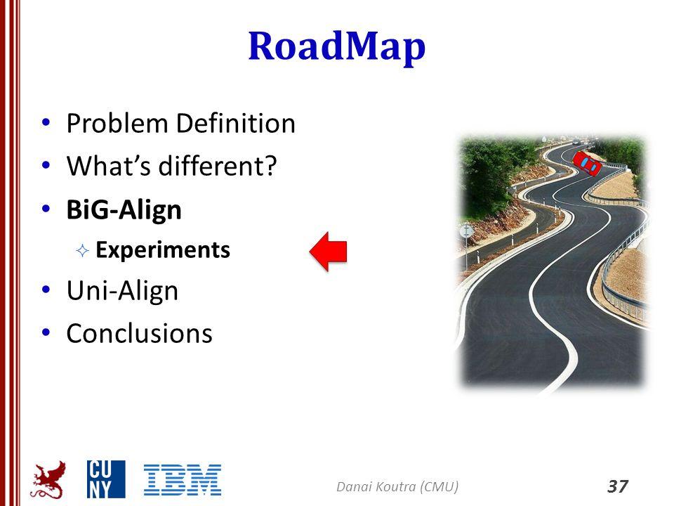 RoadMap Problem Definition What's different? BiG-Align  Experiments Uni-Align Conclusions 37 Danai Koutra (CMU)