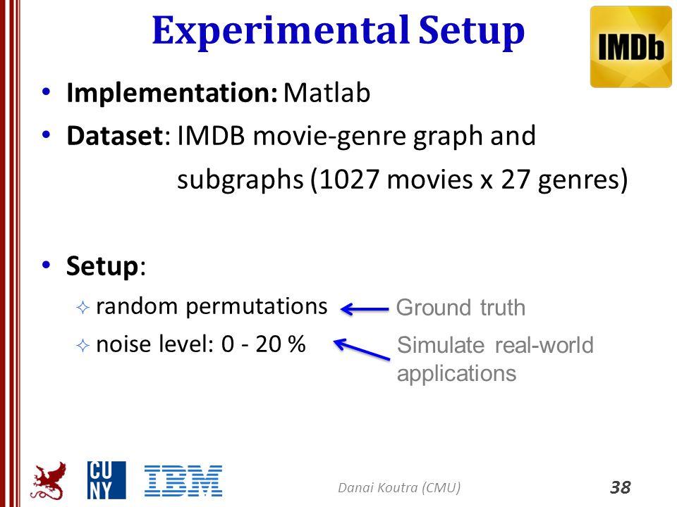 Experimental Setup 38 Implementation: Matlab Dataset: IMDB movie-genre graph and subgraphs (1027 movies x 27 genres) Setup:  random permutations  no