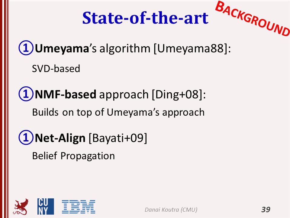 State-of-the-art 39 ①Umeyama's algorithm [Umeyama88]: SVD-based ①NMF-based approach [Ding+08]: Builds on top of Umeyama's approach ①Net-Align [Bayati+