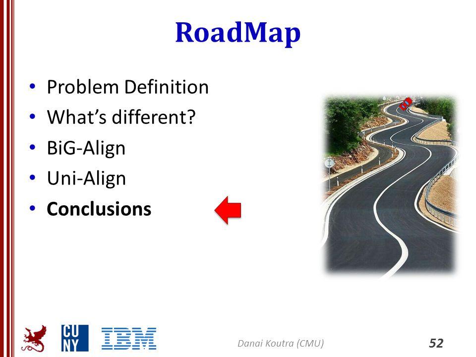RoadMap Problem Definition What's different? BiG-Align Uni-Align Conclusions 52 Danai Koutra (CMU)