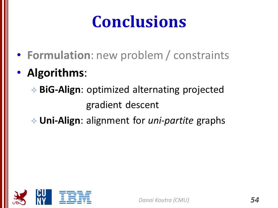 Conclusions 54 Formulation: new problem / constraints Algorithms:  BiG-Align: optimized alternating projected gradient descent  Uni-Align: alignment