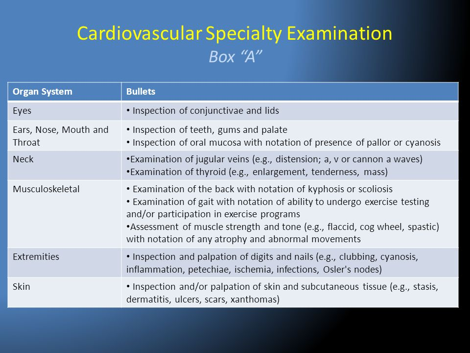 """Cardiovascular Specialty Examination Box """"A"""" Organ SystemBullets Eyes Inspection of conjunctivae and lids Ears, Nose, Mouth and Throat Inspection of t"""