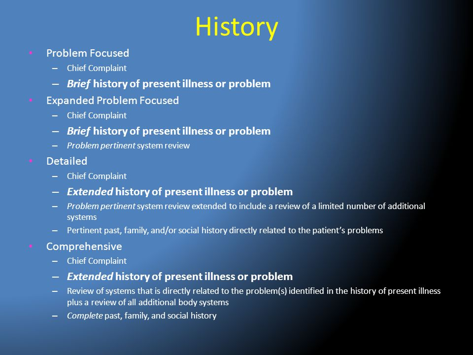 History Problem Focused – Chief Complaint – Brief history of present illness or problem Expanded Problem Focused – Chief Complaint – Brief history of