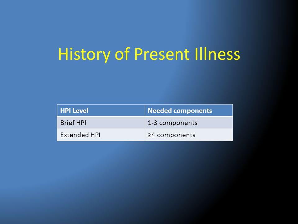 History of Present Illness HPI LevelNeeded components Brief HPI1-3 components Extended HPI≥4 components