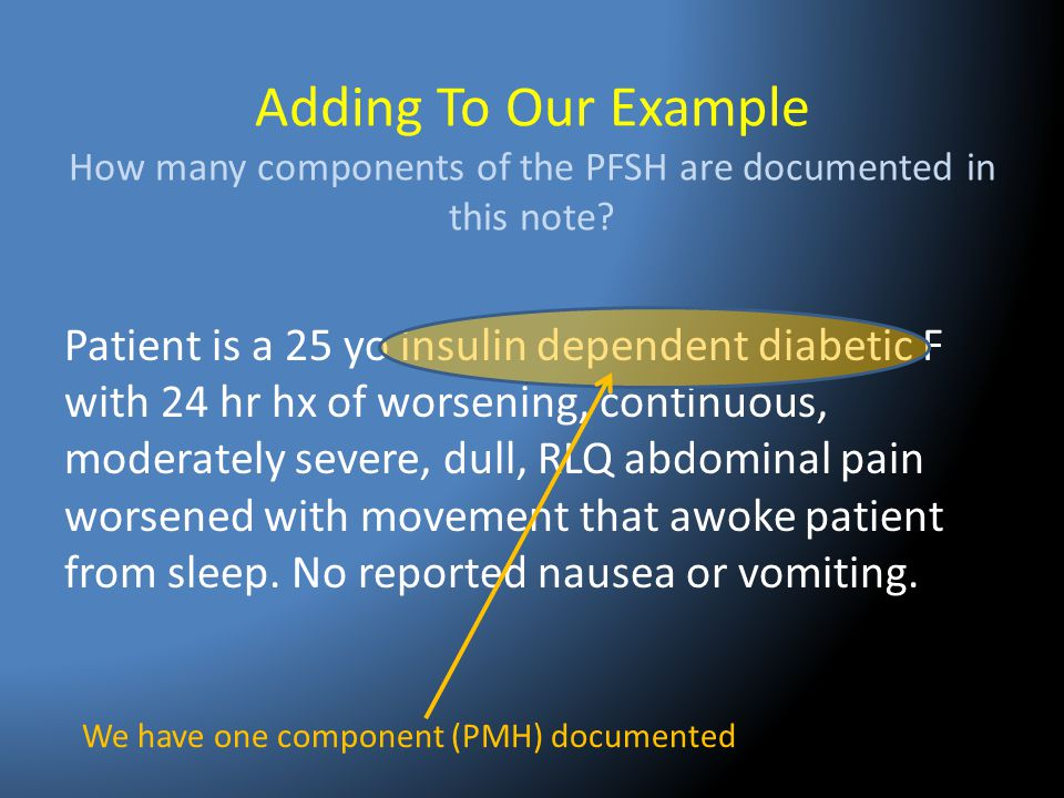 Adding To Our Example How many components of the PFSH are documented in this note? Patient is a 25 yo insulin dependent diabetic F with 24 hr hx of wo